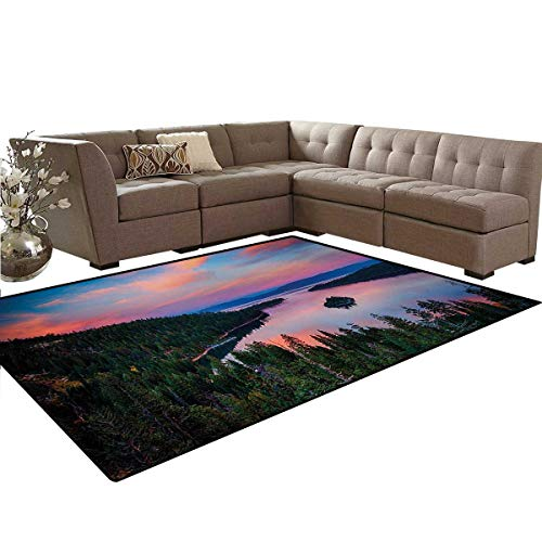 (Lake Tahoe,Rug,California Photography Rustic Themes Sundown Time Freshwater Sierra Nevada Lake,Home Decor Floor Carpet,Multicolor,6'6