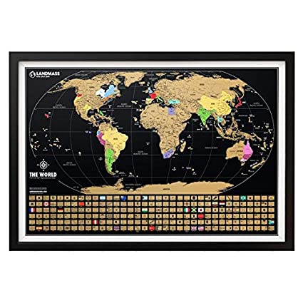 Gold World Map Poster.Amazon Com Xl Landmass Scratch Off World Map Poster Extra Large