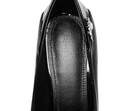 Frauen Schuhe aus echtem Leder Chunky Heel Casual Dress Pumpen schwarz Größe 35 bis 38 Black