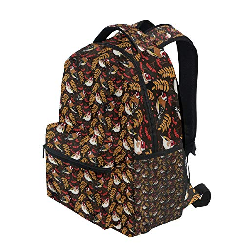 KVMV Goldfinch Berry Pattern Lightweight School Backpack Students College Bag Travel Hiking Camping Bags