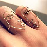 2pcs/Set 2017 New Ethnic Metal Hollow Human Face Rings for Women Fashion Alloy Knuckle Rings for Fingers Jewelry Gift XR925