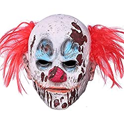 Halloween Clown Mask Full Head Latex Scary Clown Mask Hair Mask Halloween Cosplay (Clown Mask)