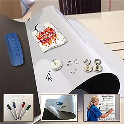Lámina ferrosa escribir y borrar blanco - 0,6mm x 1m x 1m - Hojas ferrosas para pizarra - Láminas de Hierro - Hoja de metal flexible magnéticamente ...