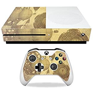MightySkins Skin Compatible with Microsoft Xbox One S – Steam Punk Paper | Protective, Durable, and Unique Vinyl Decal wrap Cover | Easy to Apply, Remove, and Change Styles | Made in The USA
