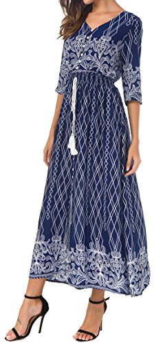 KorMei Womens Button Up Split Floral Print Flowy Party Long Bohemian Maxi Dress L Blue&White (Sleeve Button Front Dress)