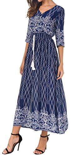 amp;weiß Blau Cuello Vestido KorMei 3 Redondo Manga 4 para Camisa Mujer vTTqWnH