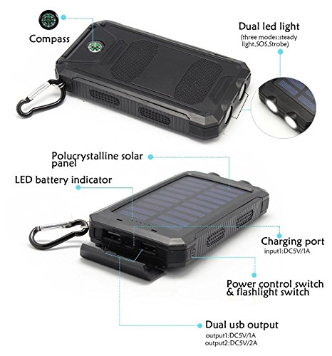 Time Collect Solar Charger Solar power Bank 20000mAh Waterproof External Backup Battery Pack parallel USB Solar Panel Charger by signifies of  2LED lumination for iPad iPhone Android Cellphones Solar Chargers