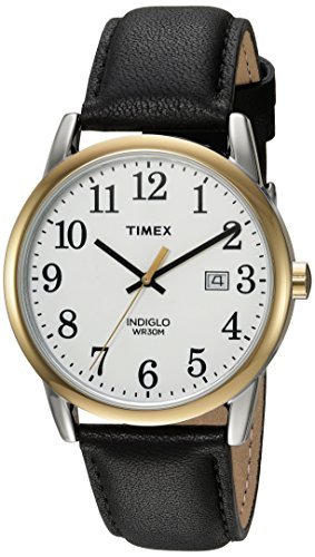 Timex Men's Easy Reader White/Black Leather Strap Watch (Black Leather Strap White)