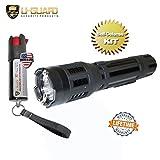 Stun Gun With Flashlight Keychain Pepper Spray Self-Defense Kit.(1) High Volt Amp LED Flashlight Taser (1) Law Enforcement Grade .5oz OC Police Keychain Pepper Spray CS Tear Gas Formula. (Black Taser)