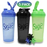 Protein Shaker Bottles by Critical Vitality | Blue-Green-Black 25oz/700ml Tumblers with Blender-Mixer-Balls, Leak Proof BPA Free Sports Travel Water Container Fits in Cup Holders and Dishwasher Safe