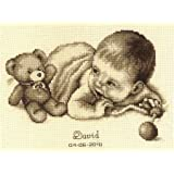 Baby and Teddy Moment Birth Sampler Cross Stitch Kit