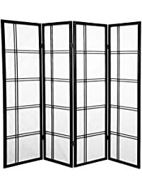 Oriental Furniture 5 Ft. Tall Double Cross Shoji Screen   Black   4 Panels