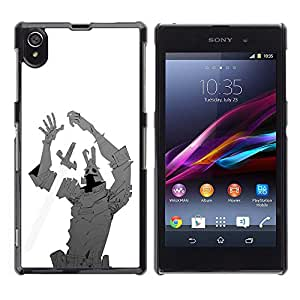 Shell-Star Art & Design plastique dur Coque de protection rigide pour Cas Case pour Sony Xperia Z1 / L39H / C6902 / C6903 / C6906 / C6916 / C6943 ( Iron Sword Man Creature Comic Cartoon Hero )