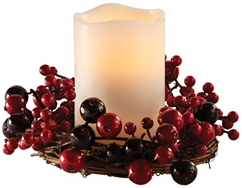 APOTHECARY Red Centerpiece W/Candle Holders 8 in. Dia. Berry -