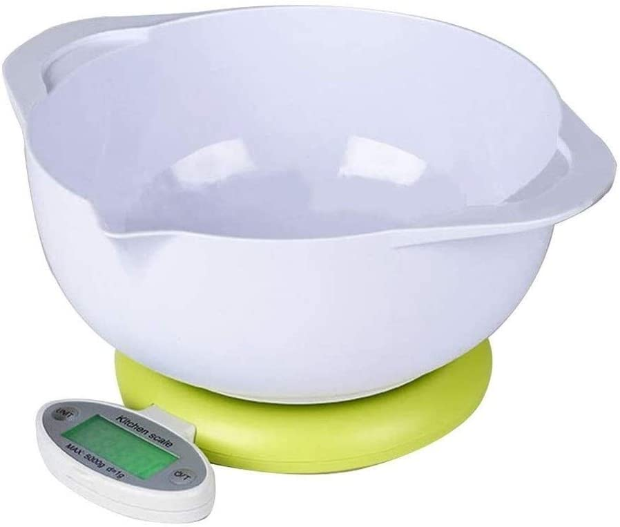 Portable Digital Kitchen Food Scales Highly Accurate Multifunction Digital Pocket Scale with Mixing Bowl and Foldable Back-lit LCD Display 919 (Color : White, Size : 5kg/1g)