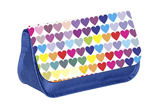 Hearts - Blue Girls Blue Pencil Case - Pencil Bag - with 2 Zippered Pockets (Heart Pencil)