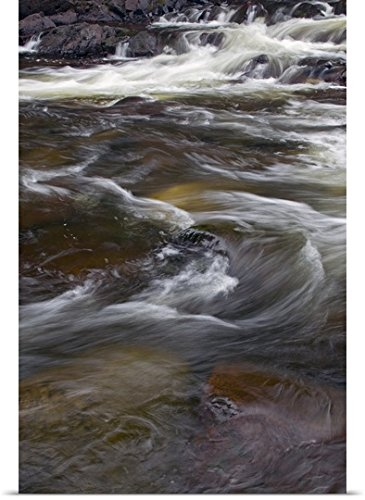 Great Big Canvas Poster Print entitled Water rushing over rocks, close up, Pigeon River,