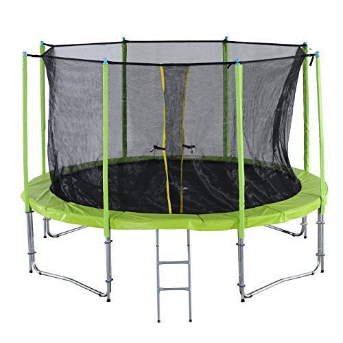 Exacme C-Series Round Trampoline Safety pad & Enclosure Net and Ladder & Basketball Hoop Combo Green (12FT)