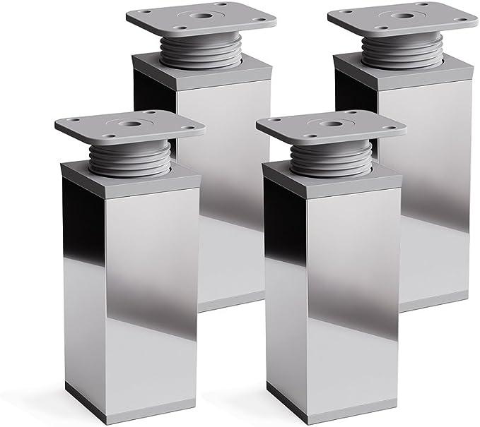 sossai® Patas para muebles MFV1   4 piezas   altura regulable   Diseño: Cromo   Altura: 60 mm (+20mm)   Perfil cuadrado: 40 x 40 mm  Tornillos ...