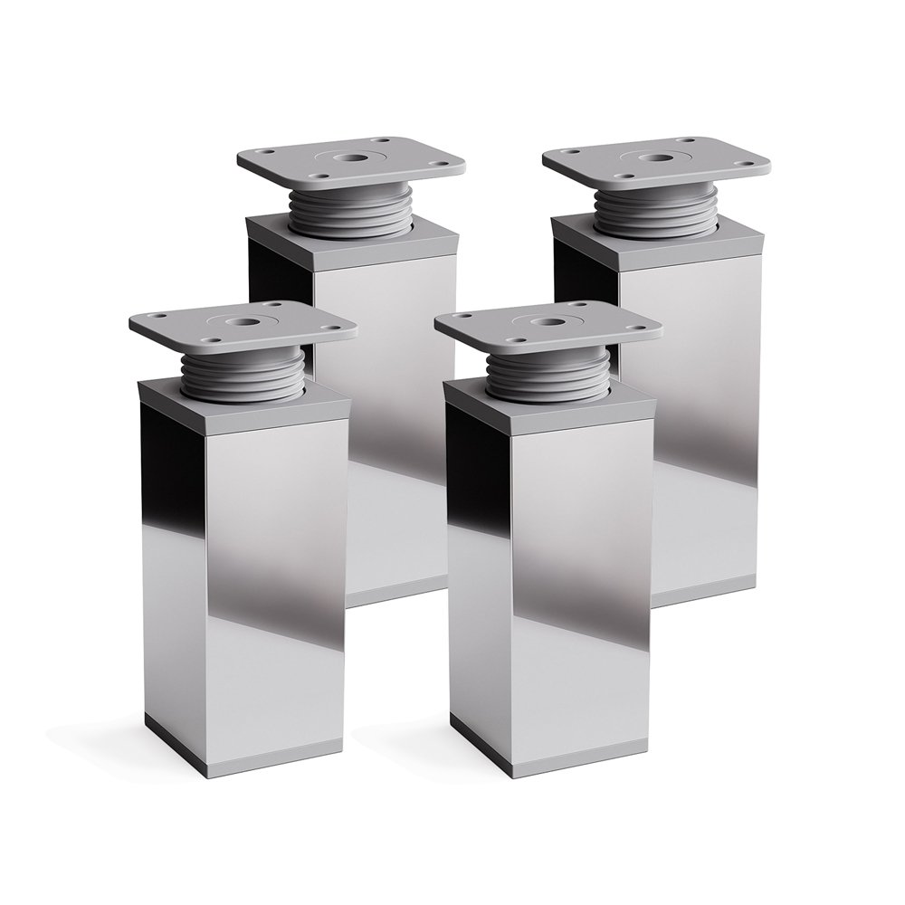 Patas para muebles, 4 piezas, altura regulable | Perfil cuadrado: 40 x 40 mm | Sossai MFV1-CH | Diseñ o: Cromo | Altura: 120mm (+20mm) | Tornillos incluidos