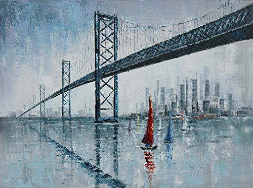Hand-painted Modern Abstract Oil Paintings Wall Home Decor Flyovers Bridge Picture Painting on Canvas Stretched and Framed Ready to Hang 35 x 47 inch Plus Size