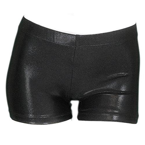 Hi Clasmix Girls Dance Shorts- Girls' Boy Cut Dancing Low Rise Gymnastics Shorts (130(7-8), Metallic - Short Rise Low