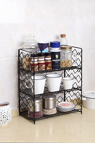 NEUN WELTEN Wide Wall Mounted Spice Rack - Wire Kitchen Counter Storage Shelf Organizer (Black, 3 Tier)