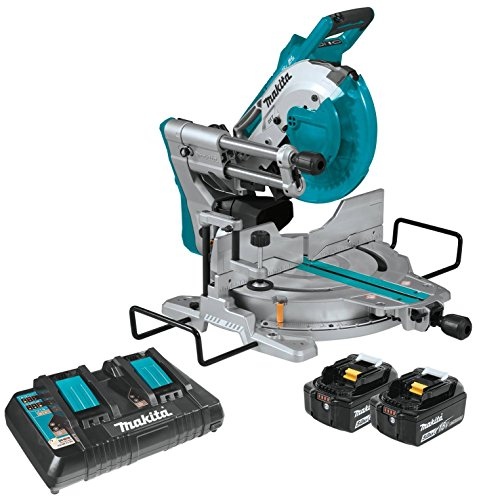 Makita XSL06PT 18V x2 LXT Lithium-Ion (36V) Brushless Cordless 10 inch Dual-Bevel Sliding Compound Miter Saw with Laser Kit (5.0Ah)