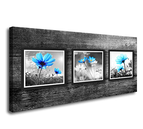 Baisuwallart-Salon Theme Black and White Peacock Blue Flower Abstract Painting Still Life Canvas Wall Art for Home Decor 1 Piece Pictures Artwork Ready to Hang for Home Decoration
