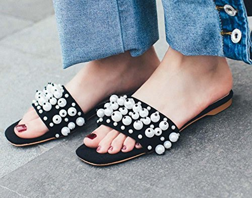 NobS Cuero Abierto Toe Flat Mule Zapatos Zapatos De Perlas De Perlas Black