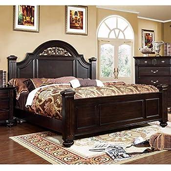 Furniture of America Grande Dark Walnut Oval Floral Platform Bed King