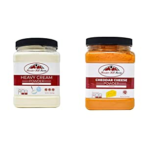 Hoosier Hill Farm Heavy Cream Powder Jar, 1 Pound & Gourmet Cheddar Cheese Powder, 1 Pound