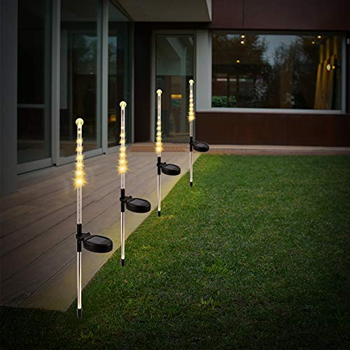 TEALP Solar Meteor Shower Lights Outdoor Solar Lights Waterproof Falling Rain Light Icicle for Outdoor Xmas Wedding Party Holiday Garden Tree Christmas (4 Pack, Warm White) ()
