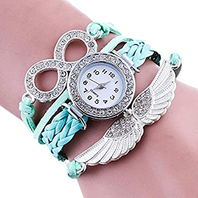 389a81b6f New Women's Watch,Analog Fashion Quartz 8 Wings with Drill Hand Winding  Table Strap Full Diamond Love Bracelet Watch Student Watch Hand-Woven  Bracelet Round ...