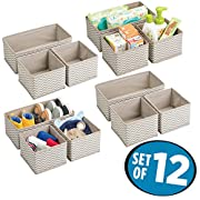 mDesign Soft Fabric Dresser Drawer and Closet Chevron Storage Organizer Set for Child/Baby Room, Nursery, Playroom – Organizing Bins in 2 Sizes – Set of 12, Zig Zag Geometric Pattern in Taupe/Natural