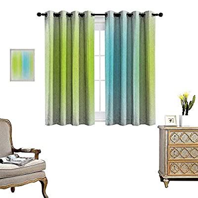 Warm Family Modern Room Darkening Wide Curtains Digital Striped Texture Vertical Never Ending Lines Technical Long Narrow Bands Bars Customized Curtains W55 x L39 Blue Green