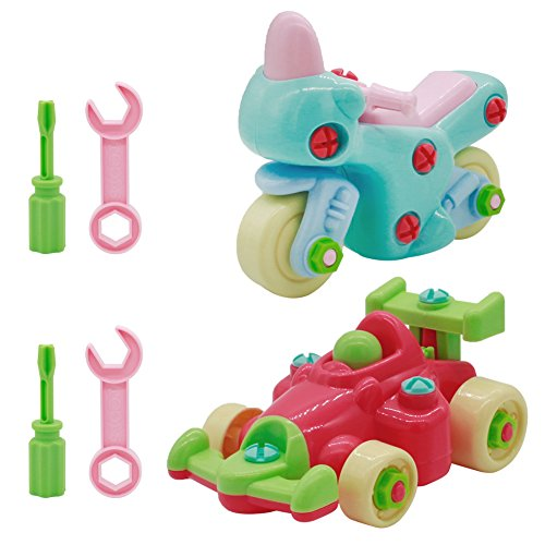 Fajiabao Take Apart Building Toys Set-Racing Car Motorcycle Toy-Best Educational Stem Toy for Toddlers Kids 3 Years and up