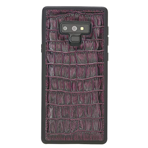 Venito Lucca Samsung Galaxy Note 9 Leather Case, Snap-On Back Cover for Samsung Galaxy NOTE9 | Slim and Lightweight | Handcrafted Premium Full Grain Leather (Croco Patterned Red)