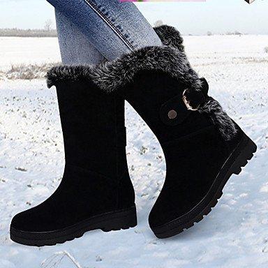 Botas de mujer invierno Mary Jane PU Casual tacón de cuña hacia abajo Black
