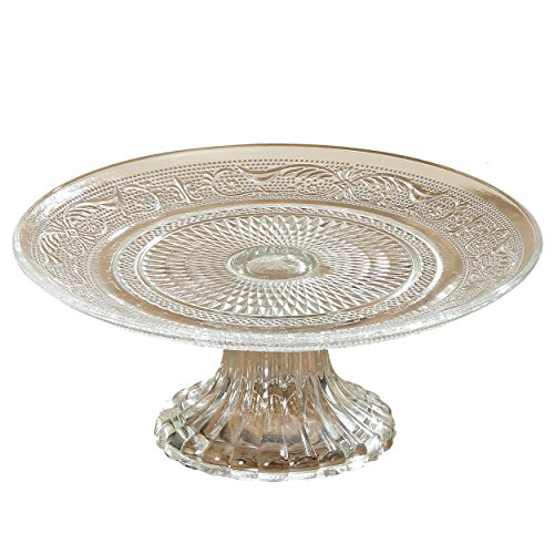Whole House Worlds The Crosby Street Cake Stand, Pedestal Plate, Vintage Style, Crystal Clear Glass, Distinct All Over Pattern, 7 Inch Diameter, By WHW ()