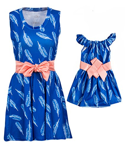 canis-family-matching-mother-and-daughter-sleeveless-floral-feather-printed-dress-outfits-a-belt-sma