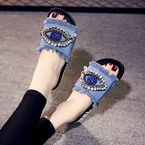 Primavera Señoras Planas Verano Claro Mujer Zapatos Azul De Zapatillas Para Cristalinas Chicas Playa qTBwUw