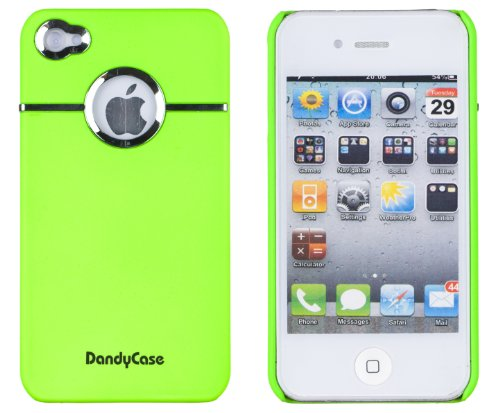 Neon Green Chrome Case for Apple iPhone 4, 4S (AT&T, Verizon, Sprint) - Includes 24/7 Cases Microfiber Cleaning (Iphone 4 Cases Green)