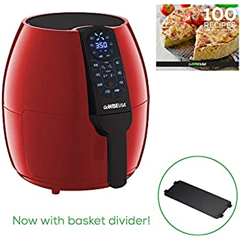 GoWISE USA GW22959 5-Quart Air Fryer with 8 Cook Presets + Recipe Book, Red, 5.0-Qt
