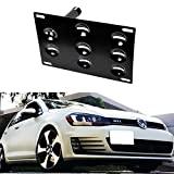 iJDMTOY Euro Style Front Bumper Tow Hole Adapter License Plate Mounting Bracket For 2015-up Volkswagen MK7 Golf GTi