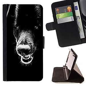 Momo Phone Case / Flip Funda de Cuero Case Cover - Negro retriever Dientes Plott Perro Lobo; - Apple Iphone 6