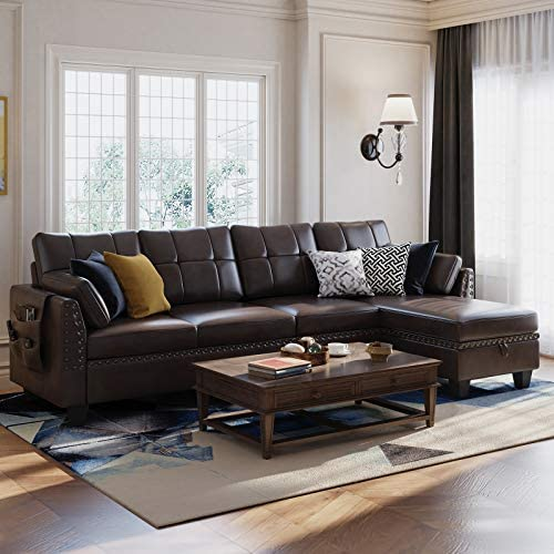 HONBAY Faux Leather Sectional Sofa Couch Reversible L Shaped Couch Sofa 4 Seat Sofa Sectional Couch