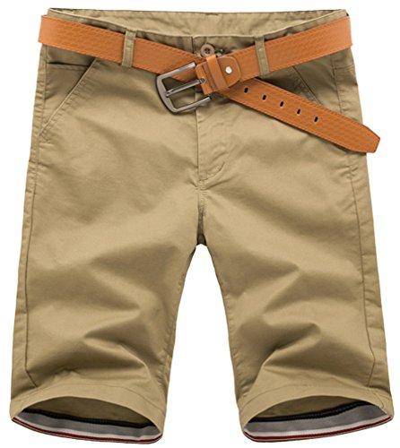 Fiream Men Summer Hot Sale Casual Cotton Cargo Shorts(Dark khaki,M/30)