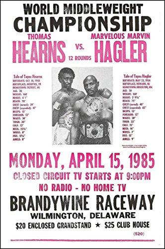 Hearns vs Hagler Boxing Match 1985 Vintage Style Poster