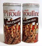 Creme De Pirouline Dark Chocolate Artisan Rolled Wafers All Natural 3.25 Oz Tins (2 Tins)